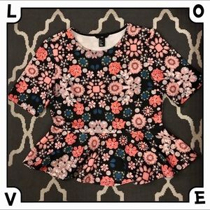 H&M Cute Floral Textured Peplum Top MEDIUM
